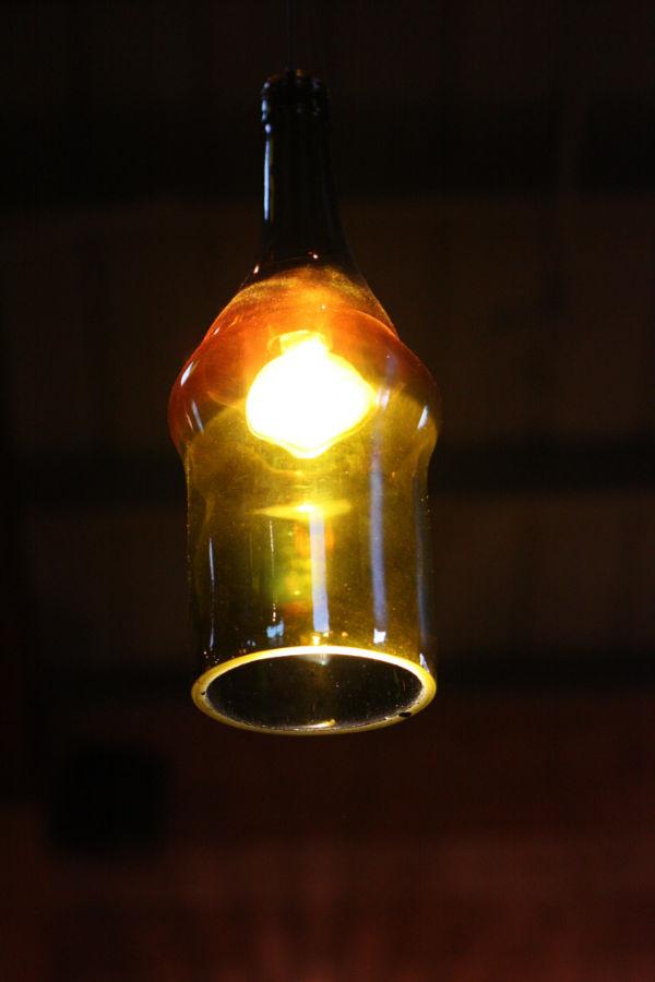 lampara botella vidrio