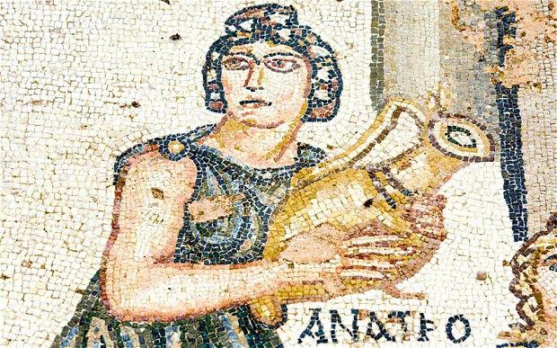 mosaico mujer vino roma