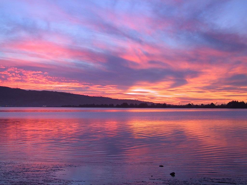 puesta sol playa mar
