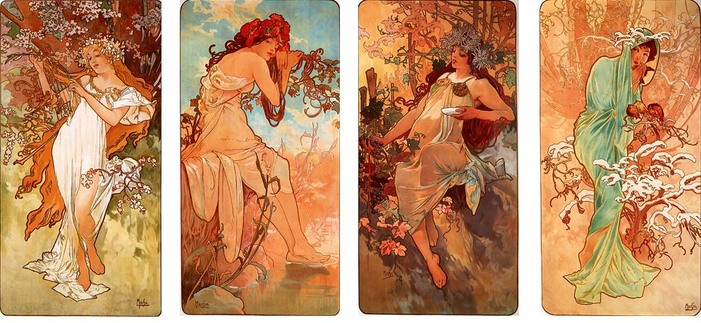 Paneles las estaciones Alphonse Mucha, litografías en color (1896)