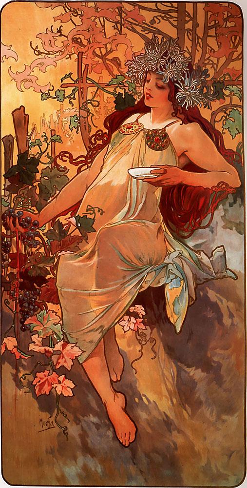 The Autumme. Alphonse Mucha. Litografía en color, 1896. Museo Vivanco de la Cultura del Vino