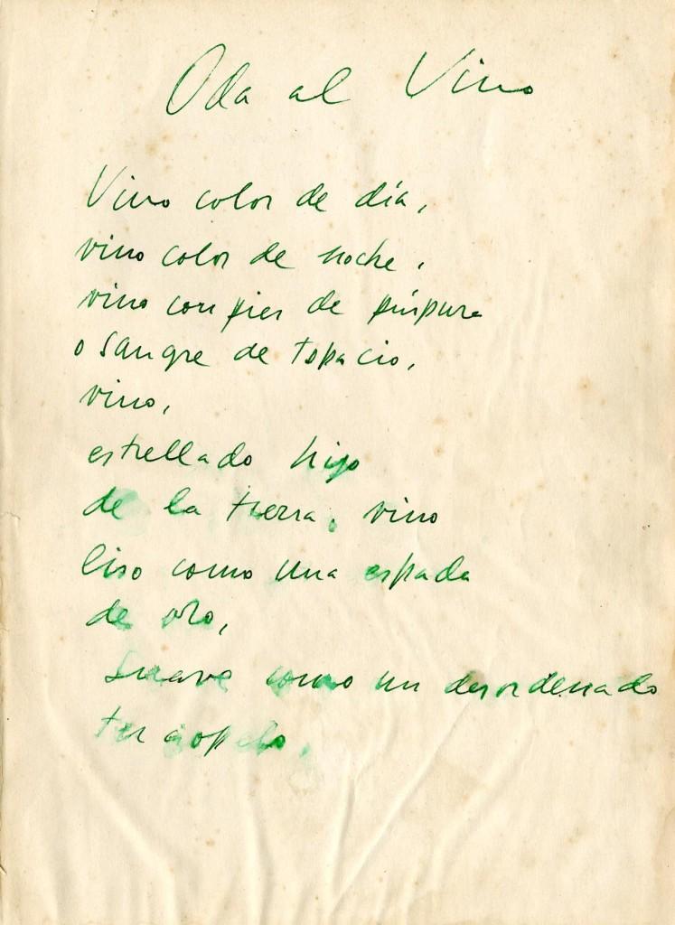 Oda al Vino: manuscrito original de Pablo Neruda, 1953. Centro de Documentación del Vino Vivanco