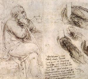 Leonardo Da Vinci. Old Man with Water Studies. 1513.
