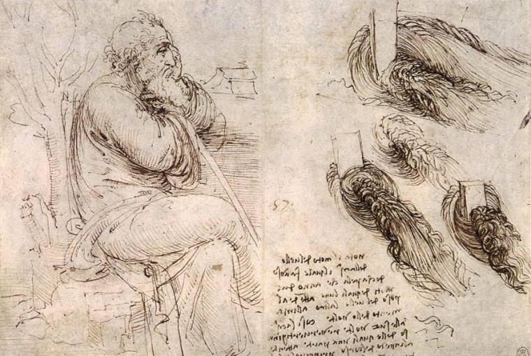 Leonardo Da Vinci. Old Man with Water Studies. 1513.
